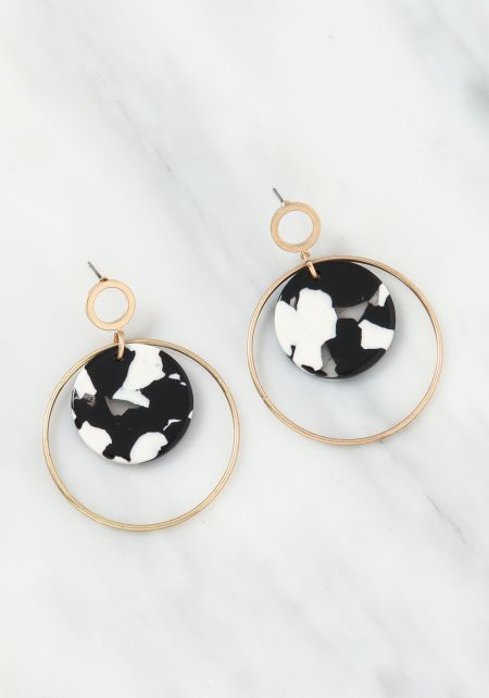 Black Resin Hoop Drop Earrings