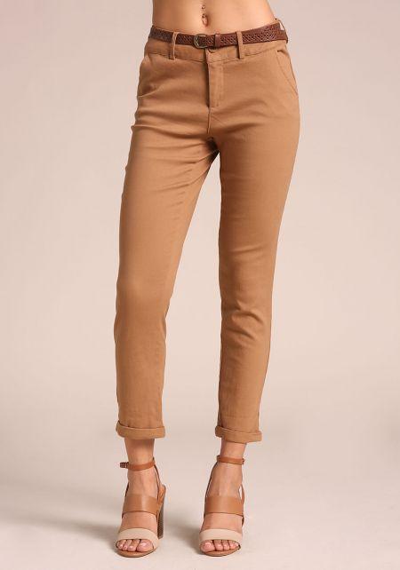 Camel Belted Skinny Pants