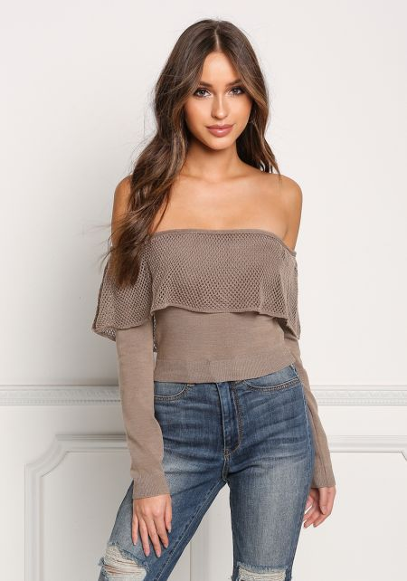 Mocha Net Layered Off Shoulder Crop Top