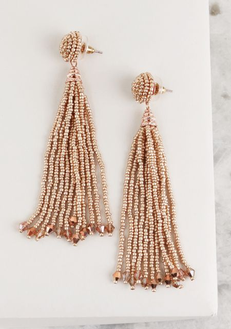 Rose Gold Beaded Stud Tassel Earrings