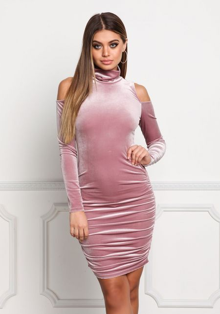 Mauve Cold Shoulder Velvet Bodycon Dress
