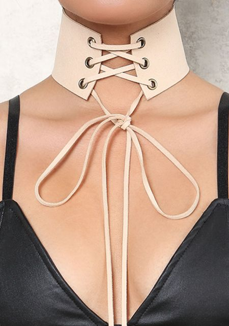 Nude Thick Suedette Lace Up Choker