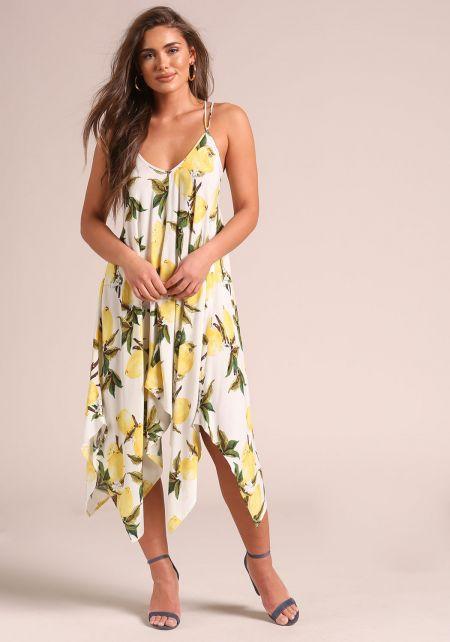 Ivory Lemon Print Cross Strap Midi Dress