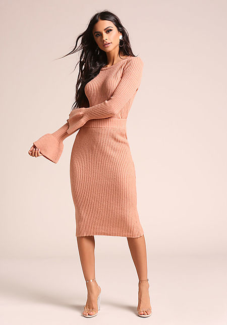 Salmon Ribbed Knit High Rise Skirt