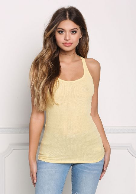 Light Yellow Ribbed Knit Racerback Tank Top
