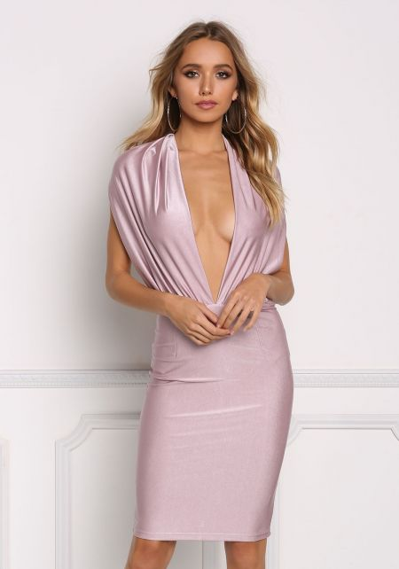 Mauve Plunge Open Back Bodycon Dress