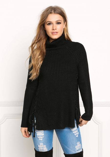 Black Lace Up Sweater Top