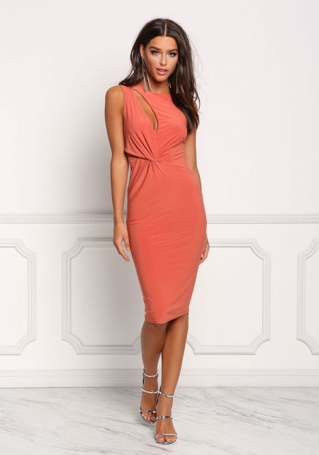Rust Twisted Cut Out Bodycon Dress