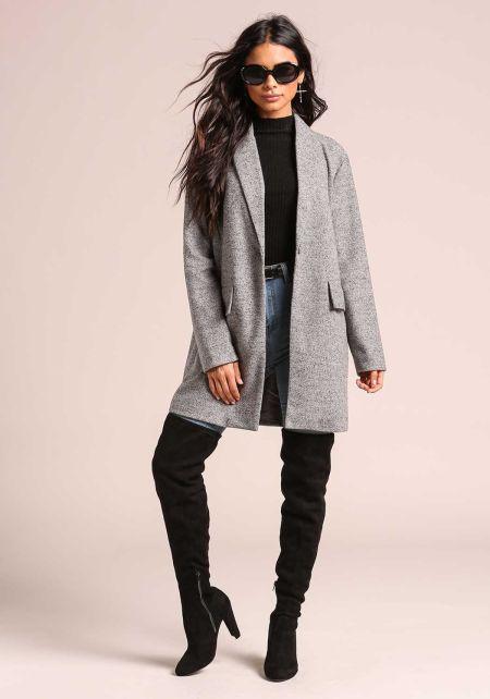 Heather Grey Marled Longlined Coat