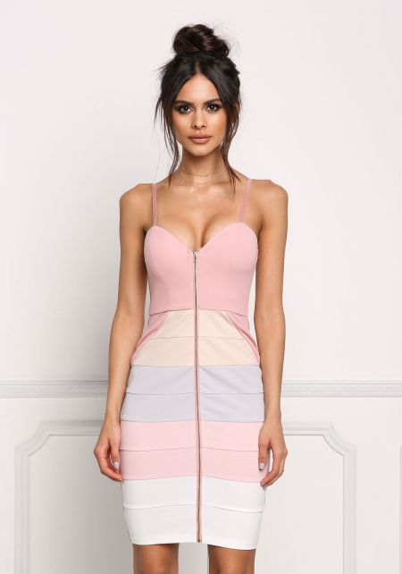 Mauve Color Block Zip Down Bodycon Dress
