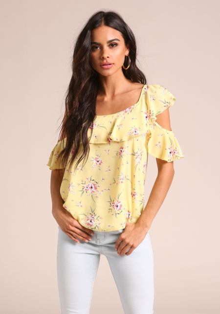 Yellow Floral Ruffle Cold Shoulder Blouse