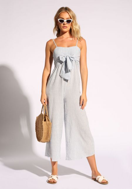Blue Tie Front Pinstripe Cropped Jumpsuit