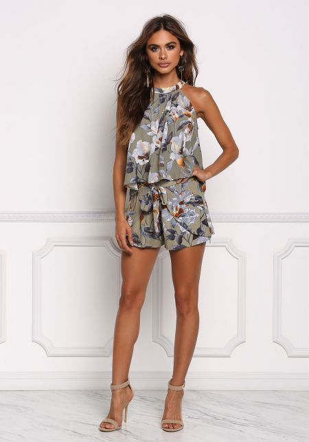 Olive Floral Tie Wrap Shorts