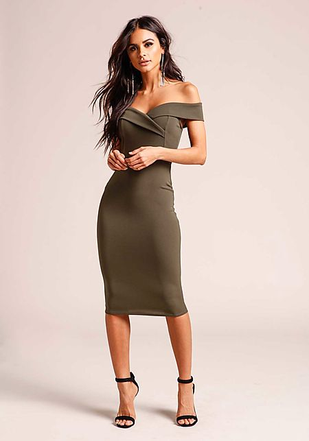 Olive Off Shoulder Bodycon Dress