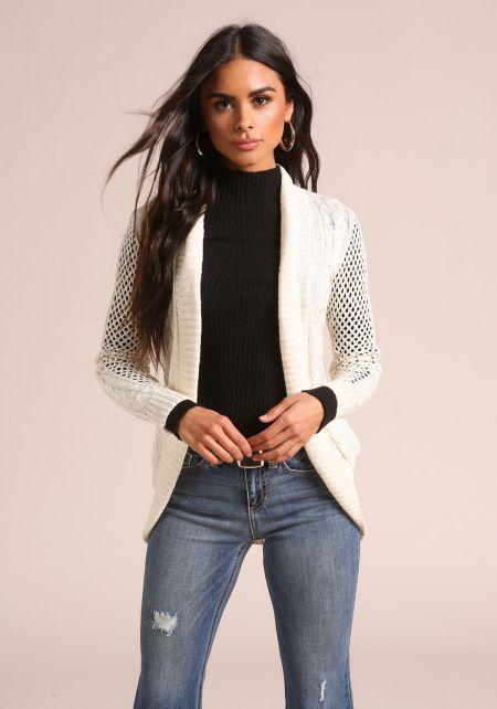 Cream Marled Purl Knit Cardigan