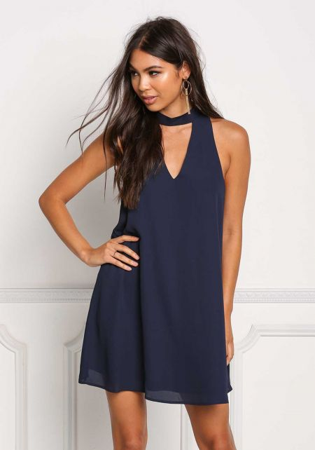 Navy Cut Out Choker Shift Dress