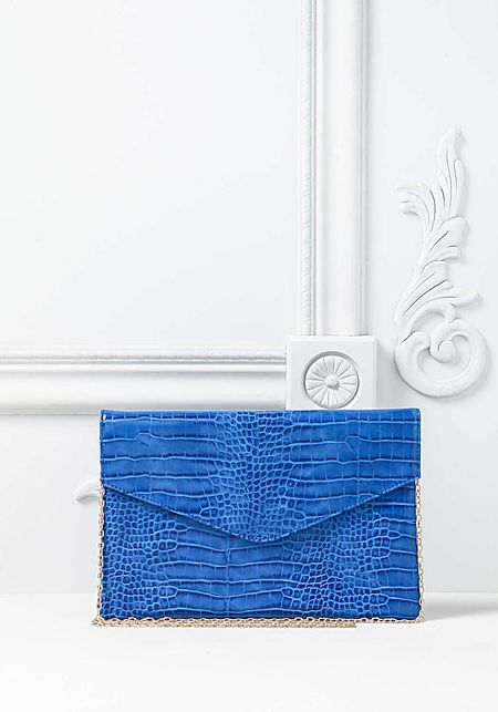 Cobalt Blue Leatherette Faux Snakeskin Clutch