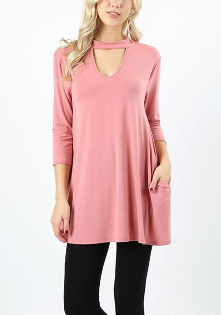 Dusty Rose Jersey Knit Cut Out Pocket Top