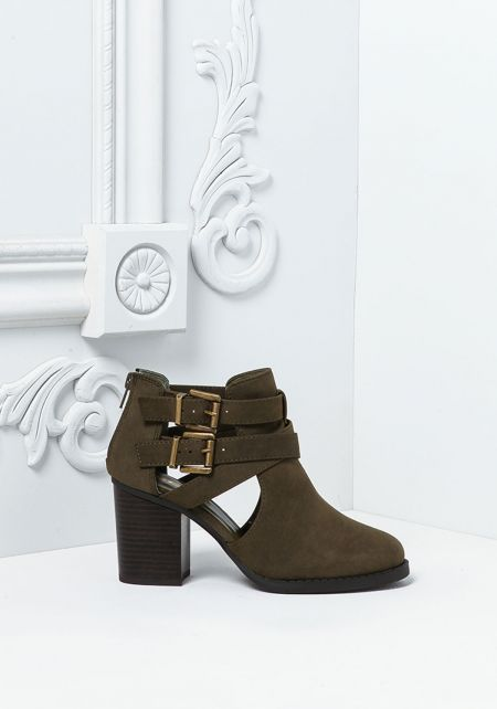 Olive Leatherette Strappy Buckle Ankle Booties