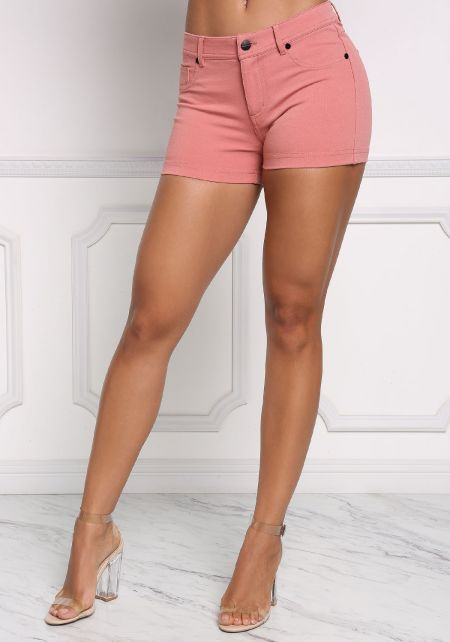 Mauve Mid Rise Solid Shorts
