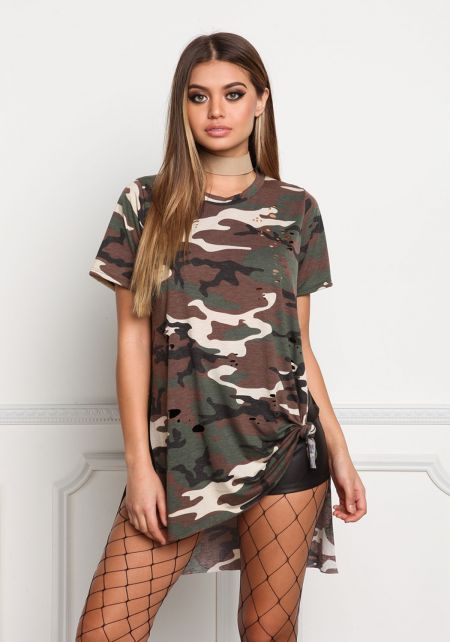 Camouflage Hi-Lo Slit Distressed Tunic Top