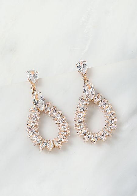 Gold Multi Teardrop Rhinestone Earrings