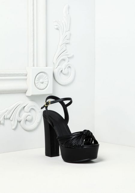 Black Leatherette Knotted Multi Strap Heels