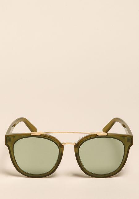 Green Wayfarer Top Bar Sunglasses