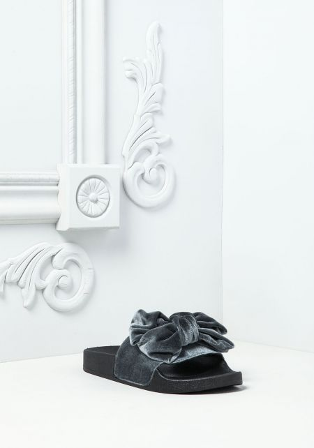 Grey Velvet Bow Slide Sandals