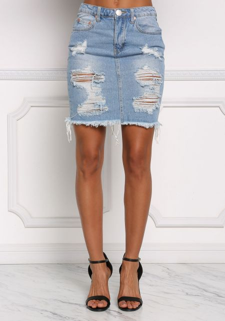 Denim Distressed High Rise Skirt