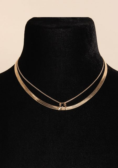 Gold Moon & Star Flat Chain Necklace