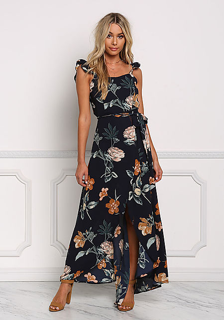Navy Floral Faux Wrap Cut Out Maxi Dress