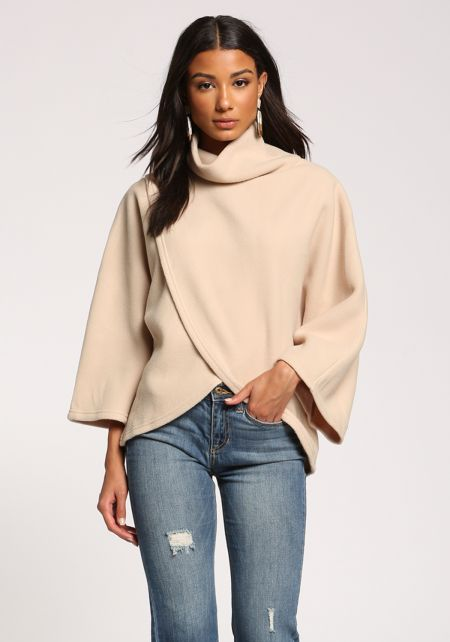 Beige Turtleneck Surplice Felt Sweater Top