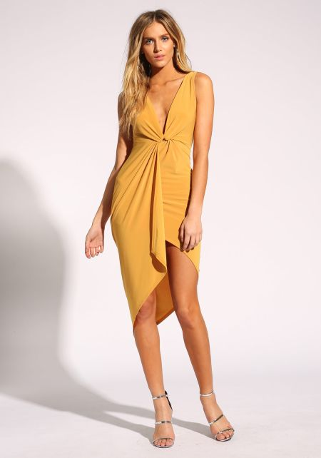Mustard Plunge Twisted Bodycon Dress