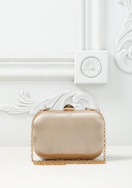 Gold Satin Rounded Clutch