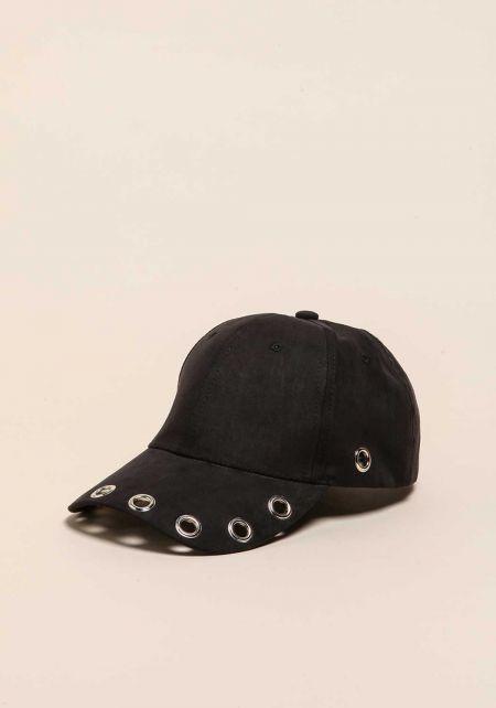 Black Suedette Grommet Baseball Cap