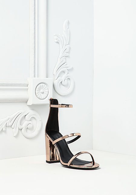 Rose Gold Chrome Three Strap Heels