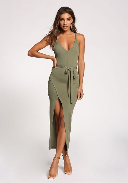 Olive Waist Tie High Slit Maxi Dress