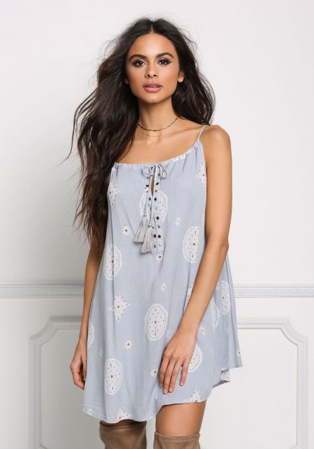 Silver Gauze Tassel Strap Shift Dress