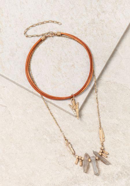 Gold Layered Stone & Pendant Necklace