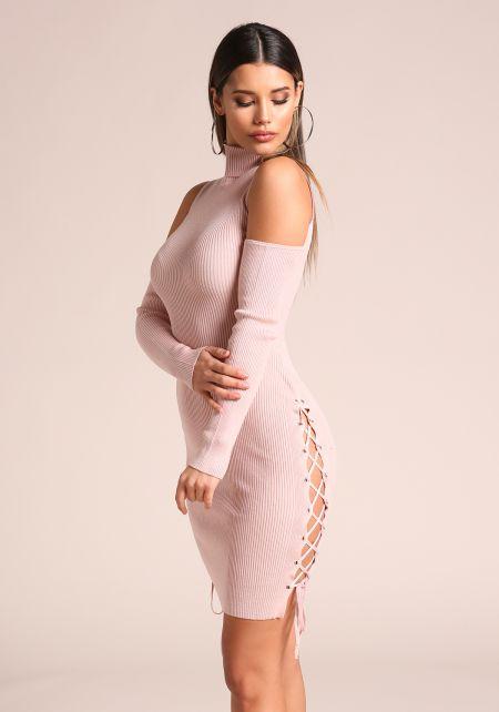 Mauve Side Lace Up Cold Shoulder Bodycon Dress