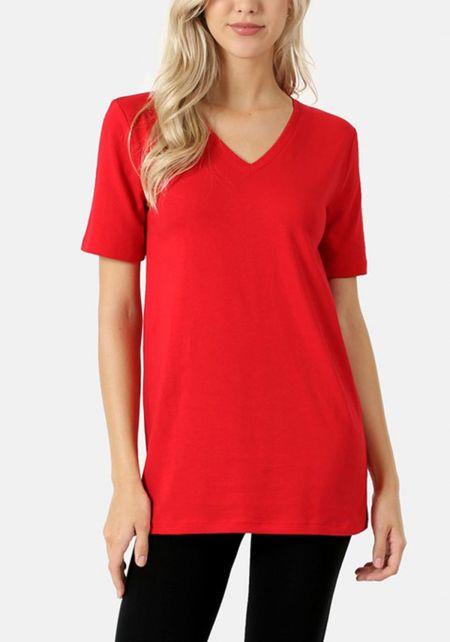 Ruby Jersey Knit V Neck Tee