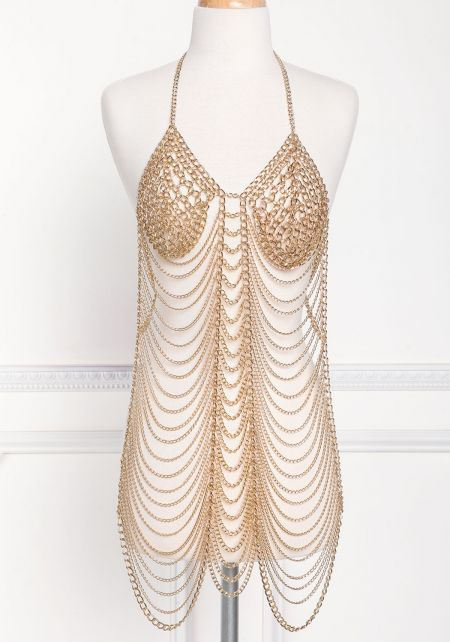 Gold Thick Draped Body Chain
