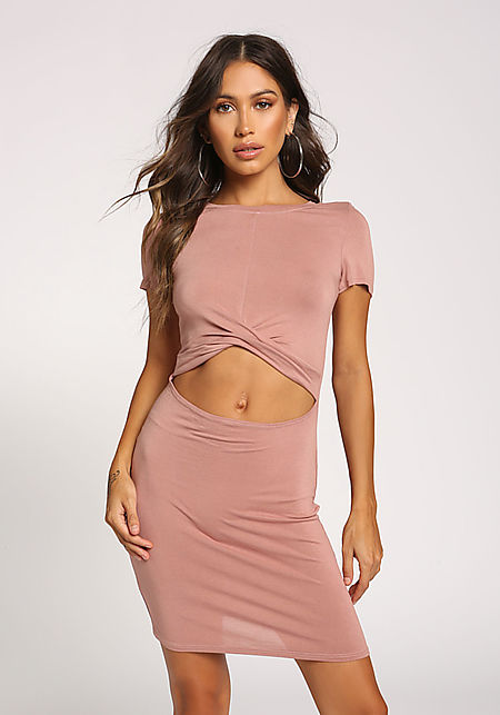 Dusty Pink Cut Out Bodycon Dress
