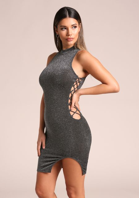 Silver Sparkle Side Lace Up Bodycon Dress