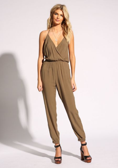 Olive Surplice Pocket Jumpsuit