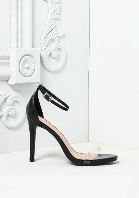 Black Patent Leatherette Perspex Heels