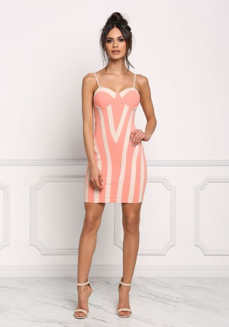 Salmon Two Tone Bustier Bodycon Dress