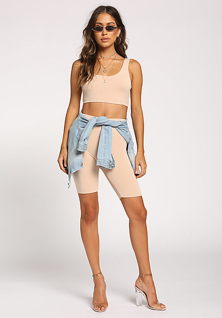 Beige High Rise Biker Shorts