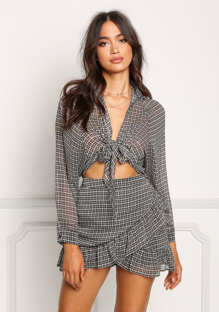 Black Chiffon Gingham Tie Front Crop Top